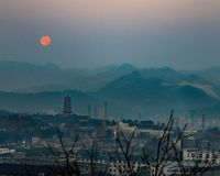Rare Blood Moon over Chinese City royalty free stock images