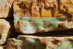 Rare boulder opal in Coober Pedy, Australia. royalty free stock photo