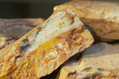 Rare boulder opal in Coober Pedy, Australia. Royalty Free Stock Images