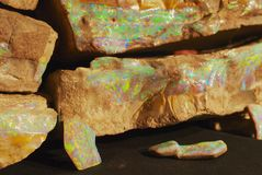 Rare boulder opal in Coober Pedy, Australia. royalty free stock photos