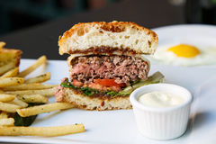 Rare Burger with Fries Royalty Free Stock Photography