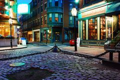 North End calm. A rare calm night is witnessed in Boston`s Historic North End, Home to a Large Italian American Community stock photos