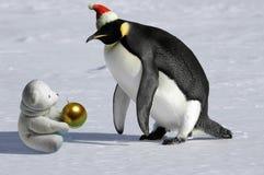Rare Christmas meeting. Penguin meets icebear on Christmas royalty free stock photos