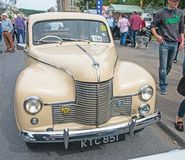 Jowett Javelin saloon front view. Rare cream colored Jowett Javelin saloon on show at `Motor Mania` held at Grantown on Spey on 3rd September 2017 royalty free stock photo