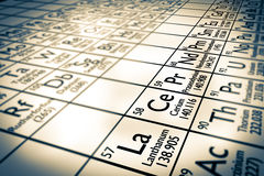 Rare earth chemical elements focus Stock Photography