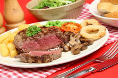 Rare Fillet Steak Dinner Stock Photo