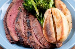Rare flank steak Royalty Free Stock Image