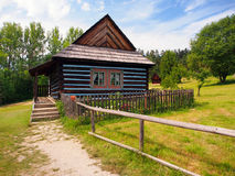 Rare folk house in skansen of Stara Lubovna. A summertime view of an authentic, ancient folk house, located in the open-air museum of Stara Lubovna, in the Spis stock photos