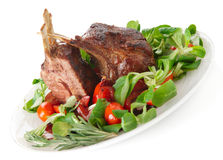 Rare fried rack of lamb isolated on white Stock Photo