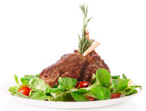 Rare fried rack of lamb isolated on white Stock Images