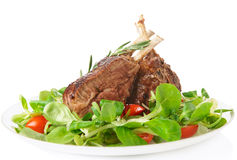 Rare fried rack of lamb  on white Royalty Free Stock Photography