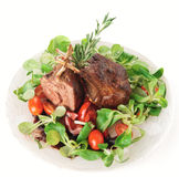 Rare fried rack of lamb  on white Royalty Free Stock Image