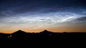 Rare Noctilucent clouds after sunset Stock Photo
