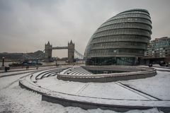 City Hall in the snow, London, UK Royalty Free Stock Photos