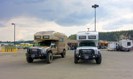 Rare, off-road motor-homes at whitehorse Royalty Free Stock Images