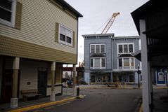 Downtown Mackinac Island. Rare off season construction on Mackinac Island, in November Royalty Free Stock Photography