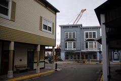 Downtown Mackinac Island. Rare off season construction on Mackinac Island, in November royalty free stock photography