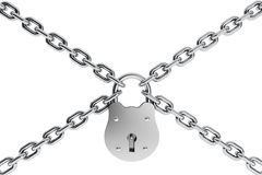 Rare Padlock and chrome chain. On a white background Stock Photo