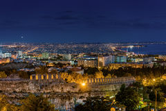 Rare Panoramic View of  Thessaloniki  at Dusk Stock Image