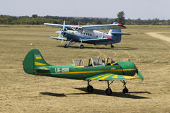 2 rare planes. Yak-52 and An-2 at Korotich AIRSHOW Stock Images