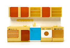 Rare plastic toy kitchen. A rare vintage plastic toy kitchen for dolls made in communist Czechoslowakia around 1985 royalty free stock images