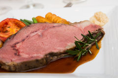 Rare Prime Rib with Rosemary Stock Photos