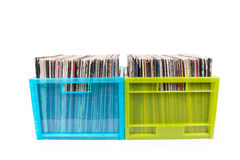Rare records in two plastic boxes Stock Image