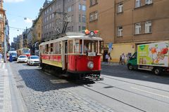 The rare red city tram stock image