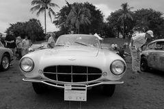 Rare 1950s Aston martin model front view b&w 2 royalty free stock image