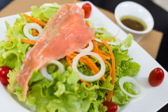 Rare salmon salad. Rare salmon and vegetable salad on white dish with sauce Stock Photo