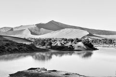 Flooded Sossusvlei in the Namib Desert in Monochrome. A rare sight: Sossusvlei in the Namib desert of Namibia filled with water. Big Daddy, one of the highest Stock Images