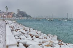 RARE SNOW EVENT IN LERICI, POETS GULF royalty free stock image