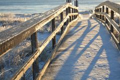 Frozen path to the ocean Stock Image