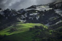 Rare Snow on the slope of Mt. Hamilton in Early Spring. Rare Snow covers the slope of Mt. Hamilton in Early Spring, San Jose, California royalty free stock images