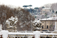 Rare snowfall in Rome. Febrary 4, 2012 - Rome (Italy), the rare cold leaves the Italian city Rome blanketed with snow Royalty Free Stock Images