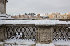 Rare snowfall in Rome. Royalty Free Stock Image