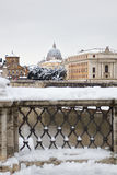 Rare snowfall in Rome. Royalty Free Stock Photo