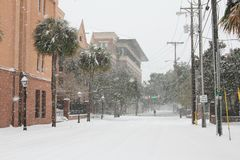 St. Philips Street, Charleston, SC. A rare snowstorm on January 3, 2018 in Charleston, South Carolina, covers St. Philips with over 6 inches of snow Stock Photography