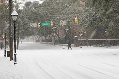 St. Philips Street, Charleston, SC. A rare snowstorm on January 3, 2018 in Charleston, South Carolina, covers St. Philips with over 6 inches of snow Royalty Free Stock Photos