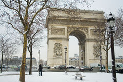 Rare snowy day in Paris. Arc de Triomphe and lots of snow Royalty Free Stock Photos