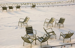 Rare snowy day in Paris stock images