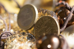 Rare stones and money Royalty Free Stock Image