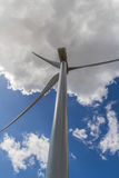 Rare Straight-up Closeup Perspective of a Huge High Tech Industrial Wind Turbine Generating Clean Green Power stock image