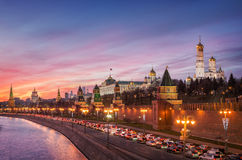 Rare sunset of miserly December. Rare beautiful sunset over the of miserly December the Moscow Kremlin Royalty Free Stock Images