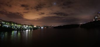 Rare supermoon eclipse - view of Rosslyn Virginia and Washington DC Stock Photos