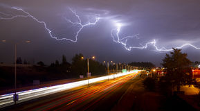 Rare Thunderstorm Producing Lightning Over Tacoma Washington I-5 Royalty Free Stock Photo