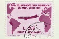Rare used Italian stamp of Gronchi rose worth 205 Lire,commemorates the visit of Italian President Gronchi to Peru