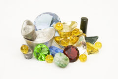 Always rare always valuable. Collection of rare precious metals and gems Royalty Free Stock Images