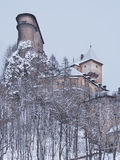 Rare view of Orava Castle in winter Royalty Free Stock Photography