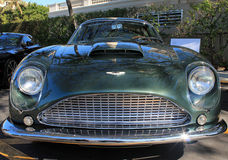 Rare vintage aston martin face. Rare 1960s vintage aston martin db4 zagato frontal view at south florida event Stock Photos